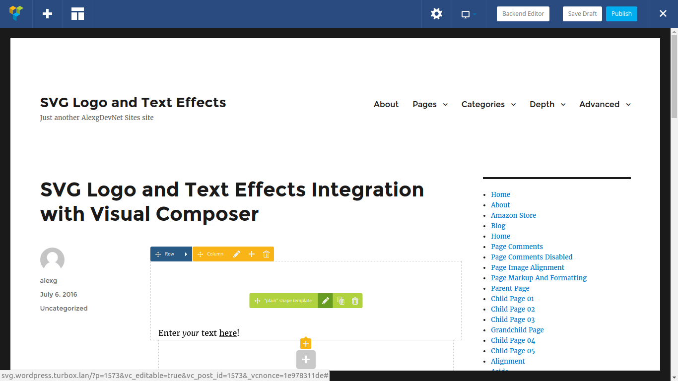 Edit your SVG text live using the frontend editor