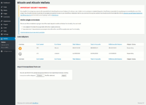 Adapters menu showing the build-in Bitcoin adapter and the Litecoin adapter extension.