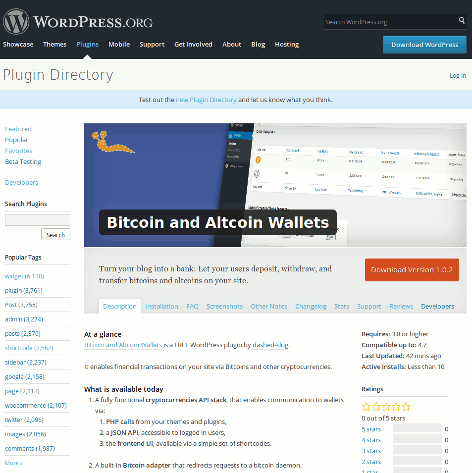 The Bitcoin and Altcoin Wallets WordPress plugin is released on the WordPress.org plugin repository.