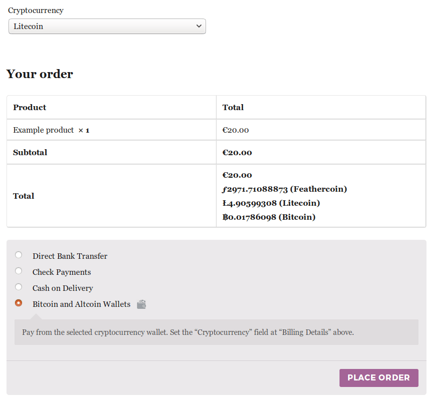 Let logged in users pay at WooCommerce checkout from their cryptocurrency wallet.