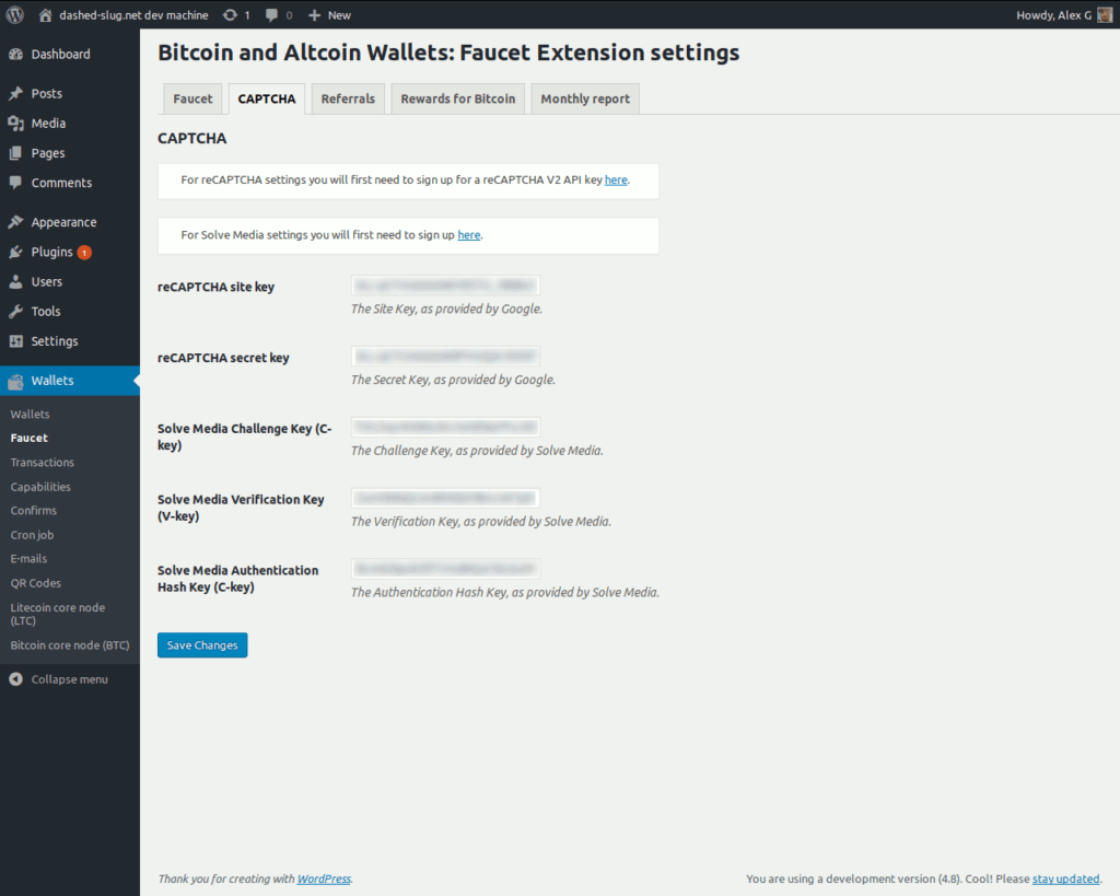 Bitcoin and Altcoin Wallets Faucet extension - CAPTCHA settings