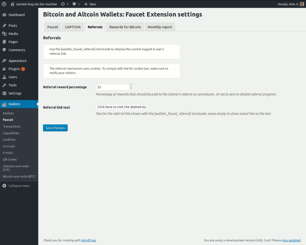 Bitcoin and Altcoin Wallets Faucet extension - Referral program settings