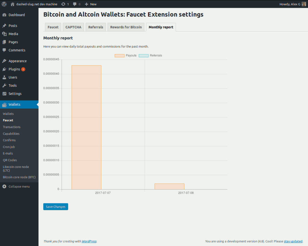 Bitcoin and Altcoin Wallets Faucet extension - Reporting