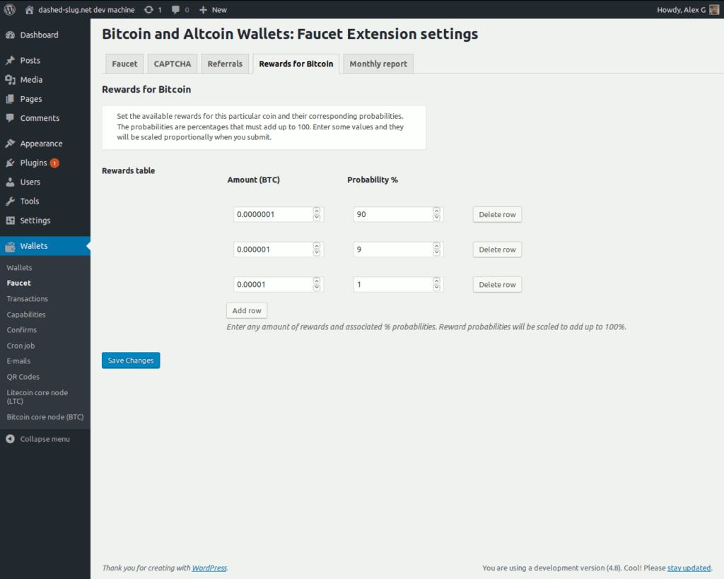Bitcoin and Altcoin Wallets Faucet extension - Rewards settings