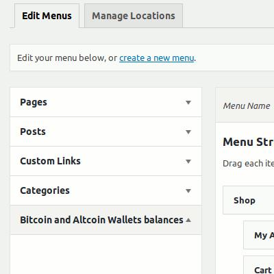 Balances displayed as menu item