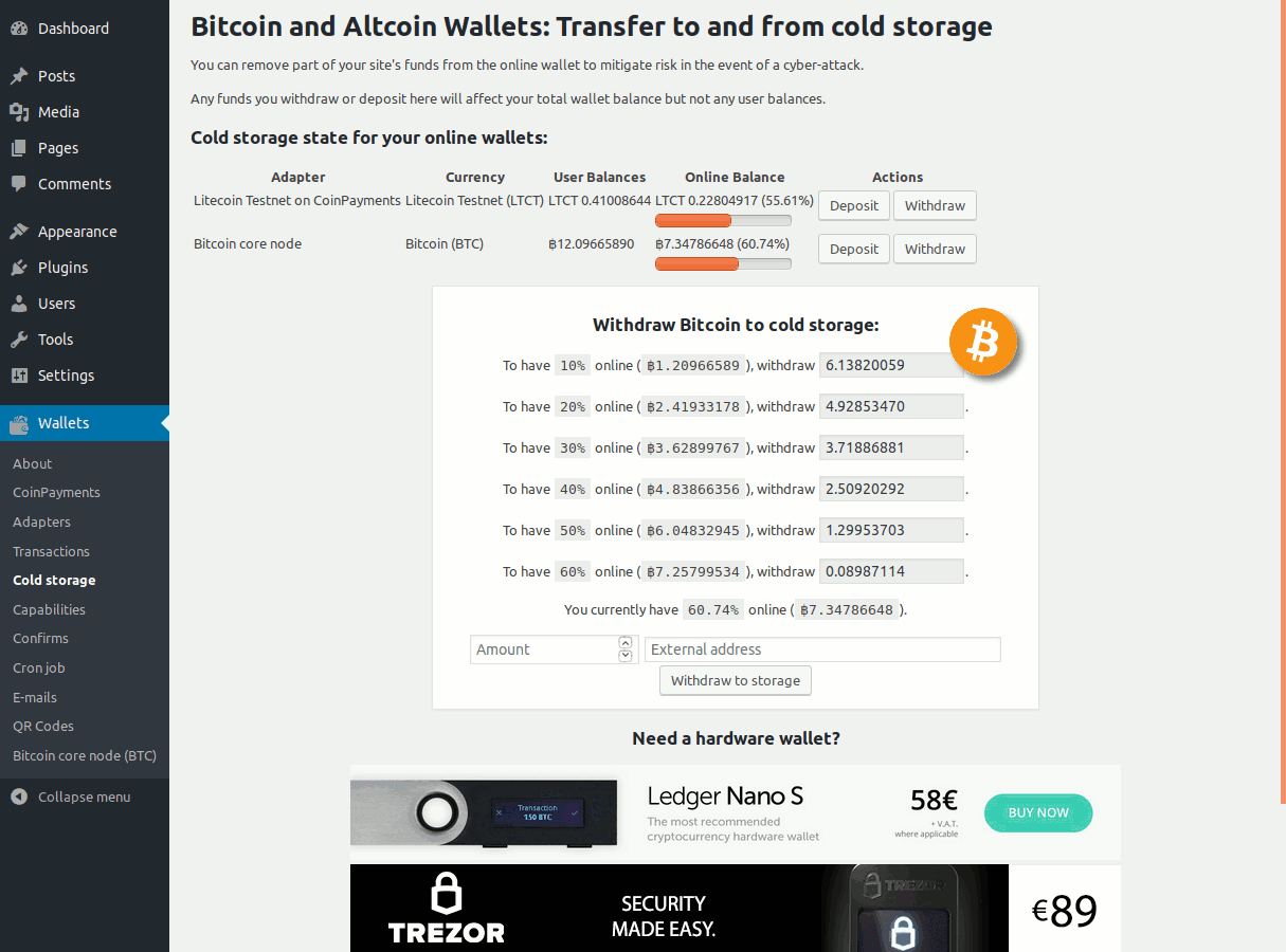 Cold Storage section in the admin panel of the Bitcoin and Altcoin Wallets free WordPress plugin.