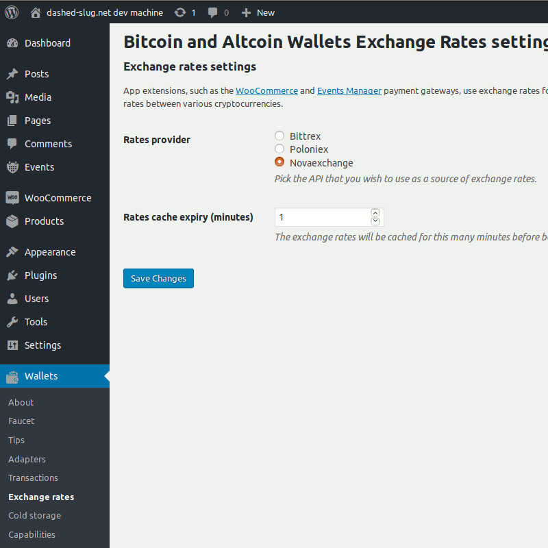 Bitcoin and Altcoin Wallets Exchange Rates settings