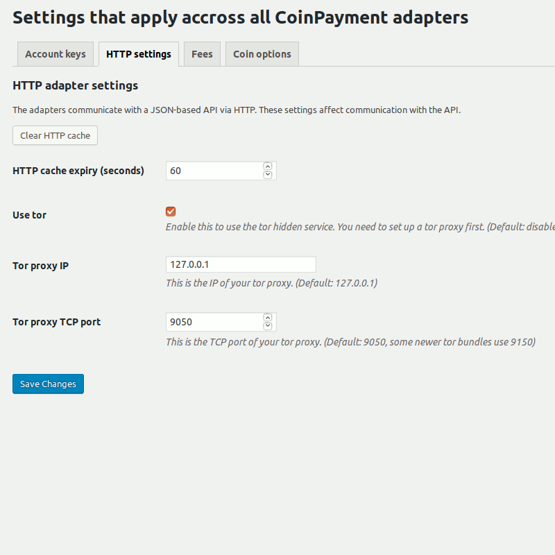 Tor settings in the CoinPayments adapter for the Bitcoin and Altcoin Wallets WordPress plugin