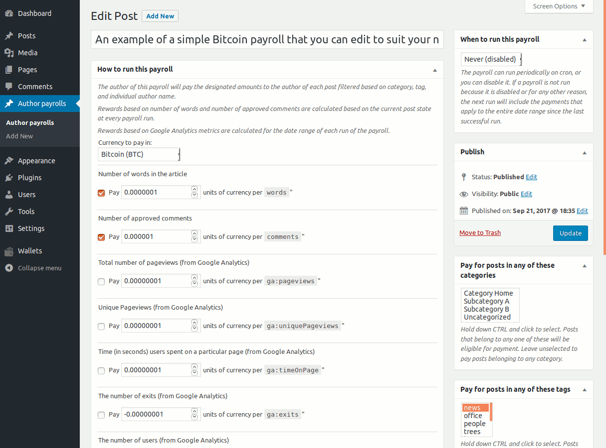 Editing a payroll in Bitcoin and Altcoin Wallets: Author payroll