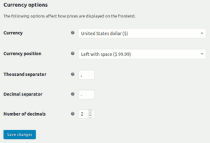 WooCommerce currency formatting settings