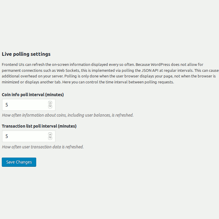 Controlling the interval for live polling in frontend of Bitcoin and Altcoin Wallets