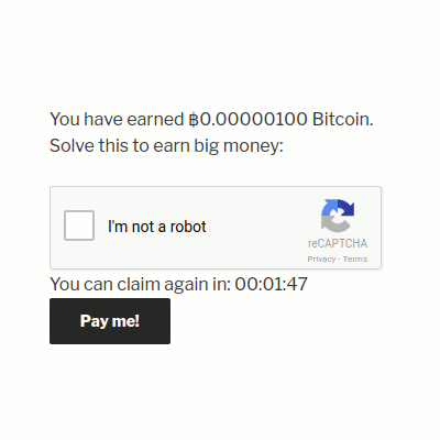 Countdown timer in the Bitcoin and Altcoin Wallets Faucet extension for WordPress.