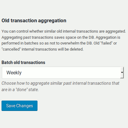 Old transaction aggregation feature in Bitcoin and Altcoin Wallets for WordPress