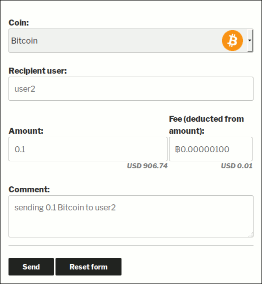 Internal transfer UI in Bitcoin and Altcoin Wallets WordPress plugin