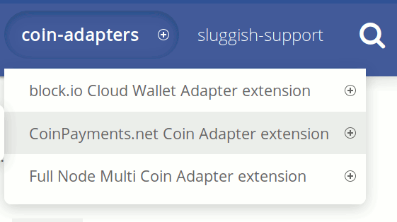 The CoinPayments adapter in the coin adapters menu on the dashed-slug website