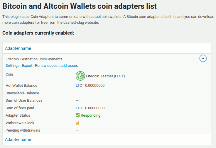 CoinPayments Litecoin testnet adapter in adapters list