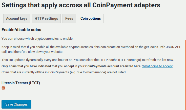 Enabling available coins in the CoinPayments adapter