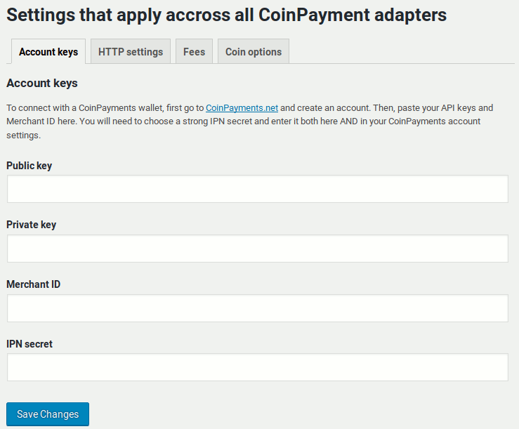CoinPayments adapter connection settings
