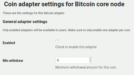 Bitcoin code node adapter settings page