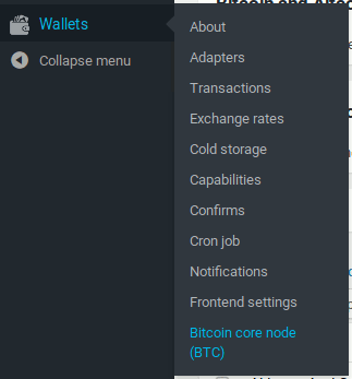 Bitcoin code node adapter in wallets menu