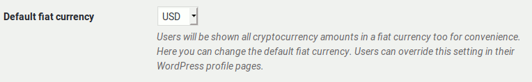 Default fiat currency setting for Bitcoin and Altcoin Wallets.