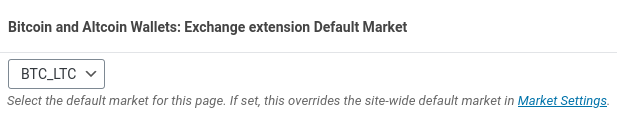 The page-wide default market selection metabox in the dashed-slug wallets Exchange extenion