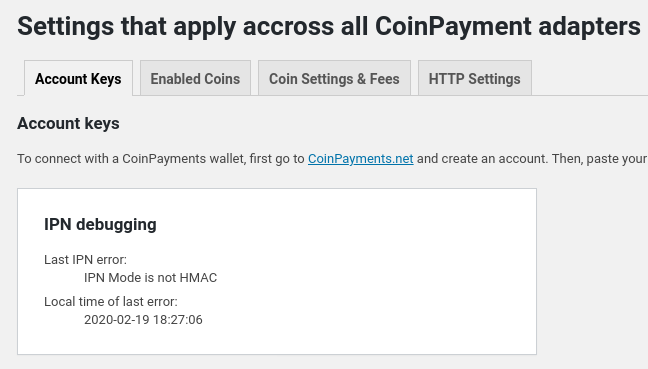 CoinPayments Adapter showing last error coming from remote API